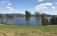 Beautiful views of the lake and Smith Mountain from the shoreline of Kennedy Shores on Smith Mountain Lake